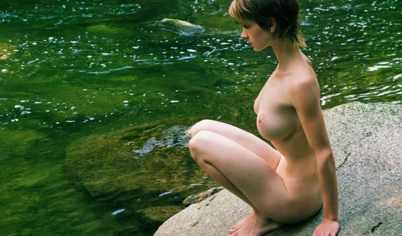 голая, девушка, грудь, эротика, девушка у реки,