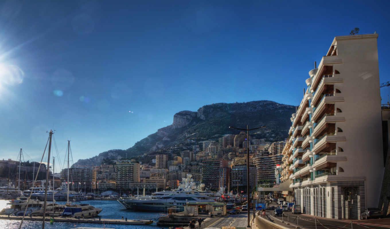 monaco, причал, лодки, монте, carlo, french, город, мост,