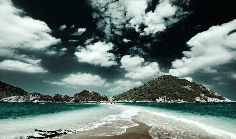 широкоформатные, два, океана, расступившееся, море,