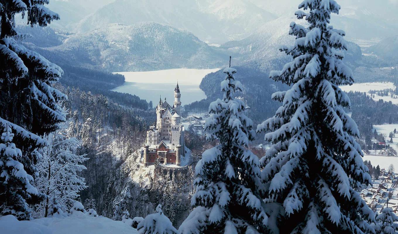 замок, зима, нойшванштайн, снег, лес, горы, деревья, картинку, городок, бавария, чтобы, картинка, все, castle, разрешения, смотрите, природы, обоями, её, просмотреть, размере, реальном, природой,