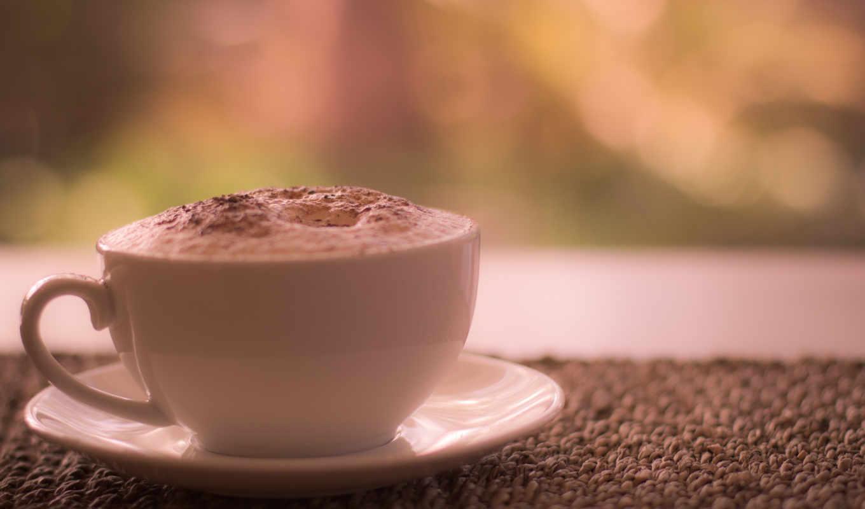 кофе, чашка, макро, пенка,