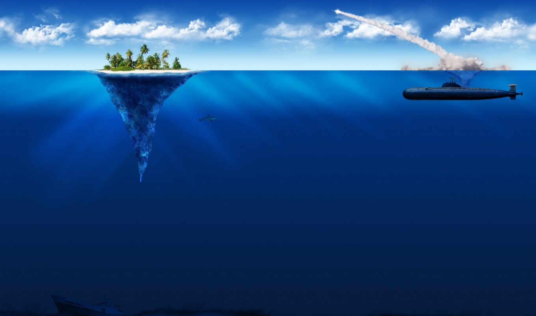 лодка, подводная, находящаяся, подводном, положении, рисунки, war,