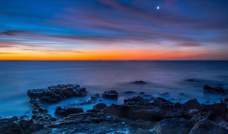 небо, закат, луна, море, share,