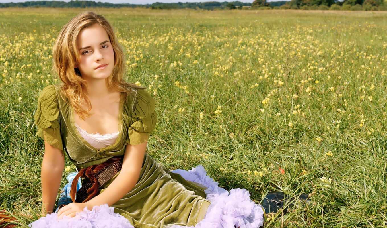 ,, people in nature, луг, трава, красота, желтый, Эмма, Уотсон, лето, поле, весна, emma watson,, знаменитость, модель, актер, плакат