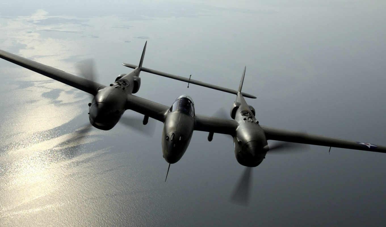 рама, море, винты, lightning, fighteraircraft, free, aircraft, over, was, картинка,