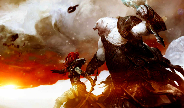 guild, wars, fantasy, fantastik, art, resim, bear, armor, weapons,