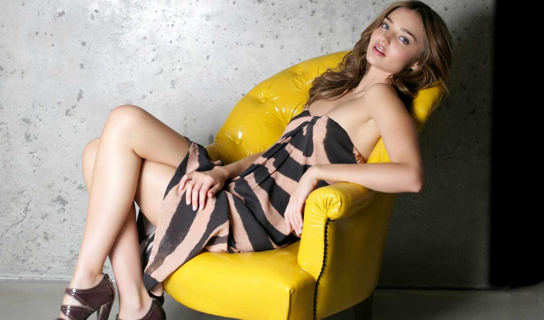 kerr, miranda, women, models, brunettes, sexy, girls, dress, photo, кресле, armchairs,