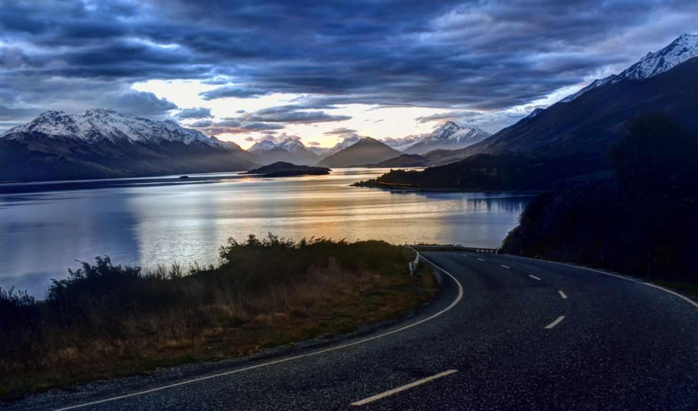 природа, road, lake, небо, clouds, landscape, new, горы, zealand, трасса,