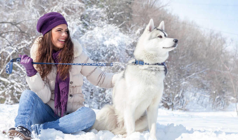 девушки, winter, снег, собаки, природа,