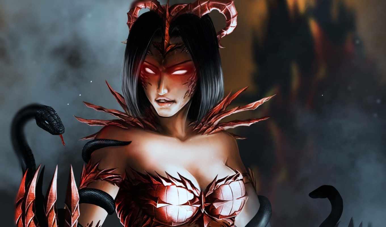 демон, девушка, snake, art, fantasy,