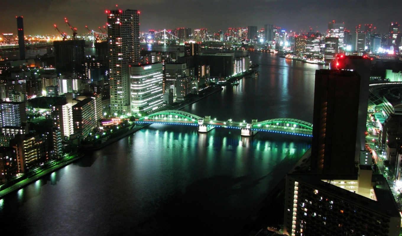 landscape, здания, город, ночь, мост, tokyo, взгляд, река, города,