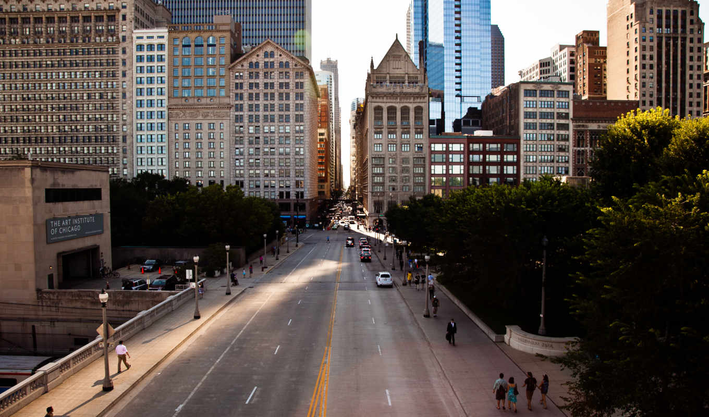 chicago, usa, улица, america, небоскребы, город, здания,