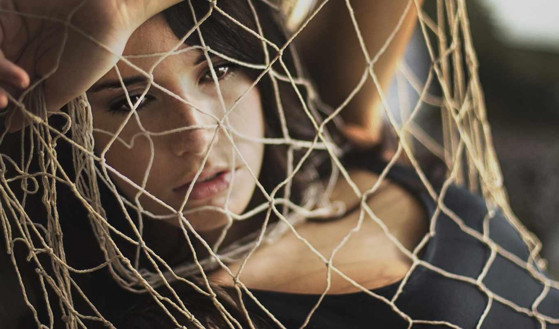 девушка, веревки, brunette, сетка, настроения, сеть,