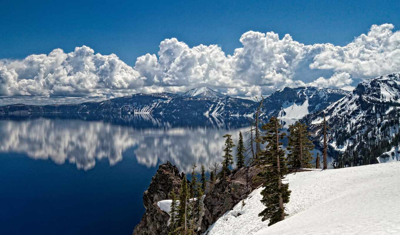 гора, снег, озеро, landscape, winter, гряда, toad, рельеф