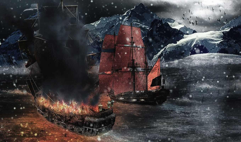 пиратский, корабль, море, гора, von, online