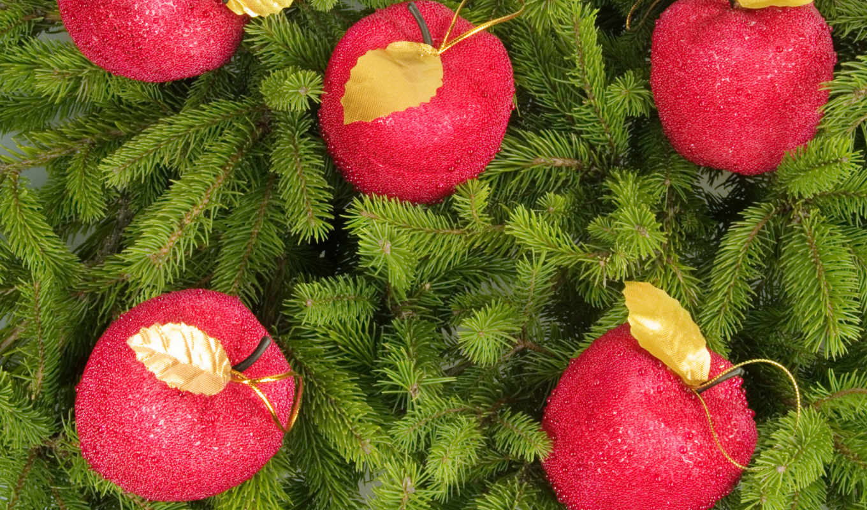 new, year, christmas, яблоки, игрушки,