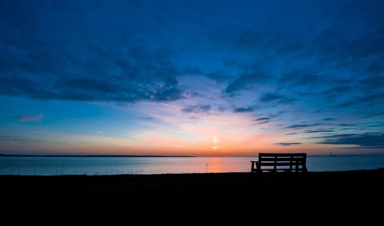 рассвет, озеро, утро, скамейка,