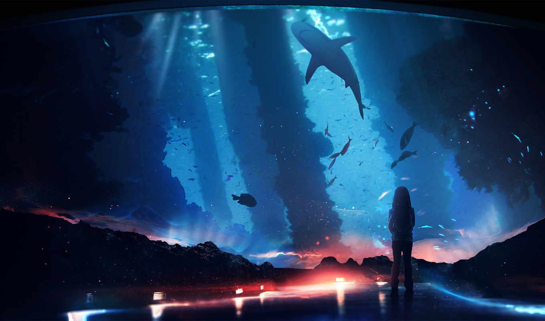 девушка, океанариуме, pisces, смотрит, рыб, океанариум, акула, аватары, fantasy,