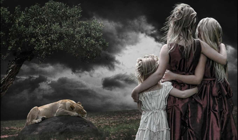 fentezti, девушка, ребенок, lion, поле, left, другой