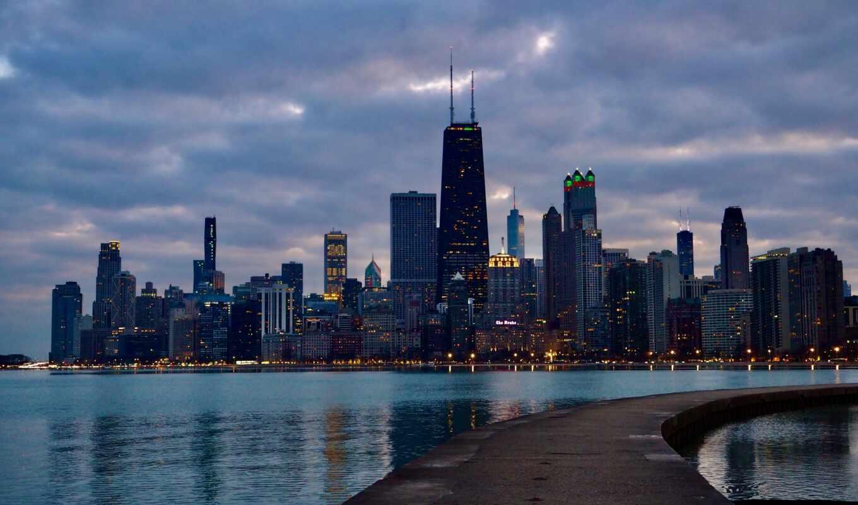 chicago, north, skyline, пляж