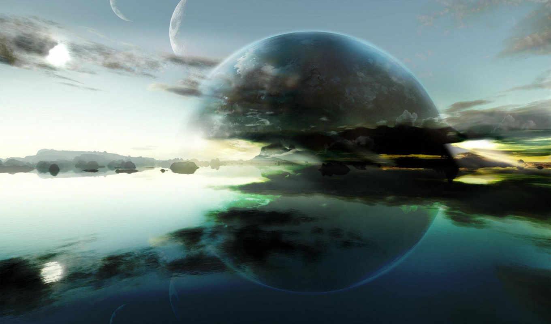 вода, планеты, silver, будущего, space, картинку, картина, mixed, горизонт, отражения, nature, world,
