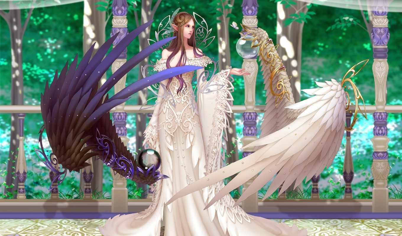 крылья, девушка, angel, взгляд, эльф,