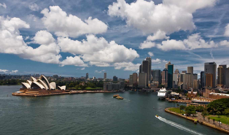 sydney, город, австралия, ocean, building, небо, облако, ночь