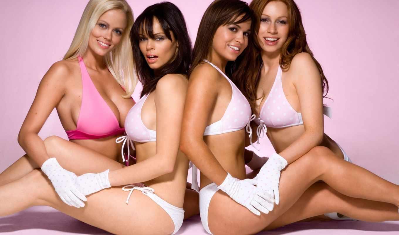 девушки, купальники, перчатки, girls, women, sim, brunettes, wise, blondes, picture, desktop,
