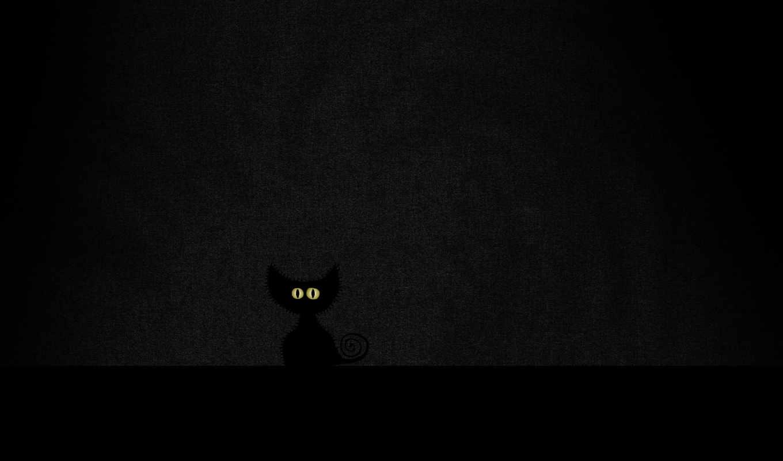 черный, глаза, минимализм, cat, vladstudio, room, dark,