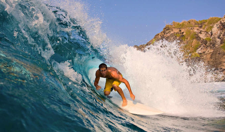 волна, трава, океан, мужчина, сёрфинг, гора, серфингист, guy,