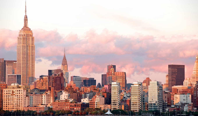 NYC LANDSCAPES, нюерк, вид на город, облока, город