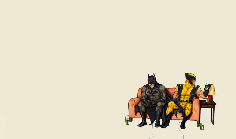 batman, комикс, минимализм, wolverine,