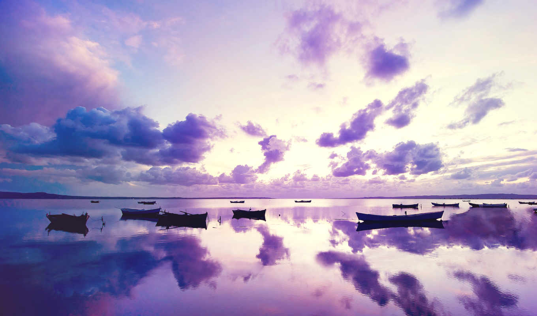 purple, лодки, закат, море, широкоформатные,