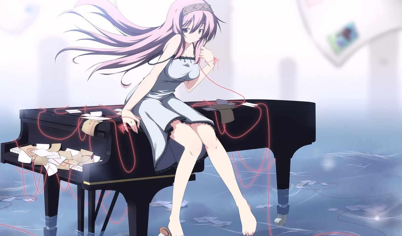 anime, девушка, art, piano, со, веревка, волосы, пианистка,
