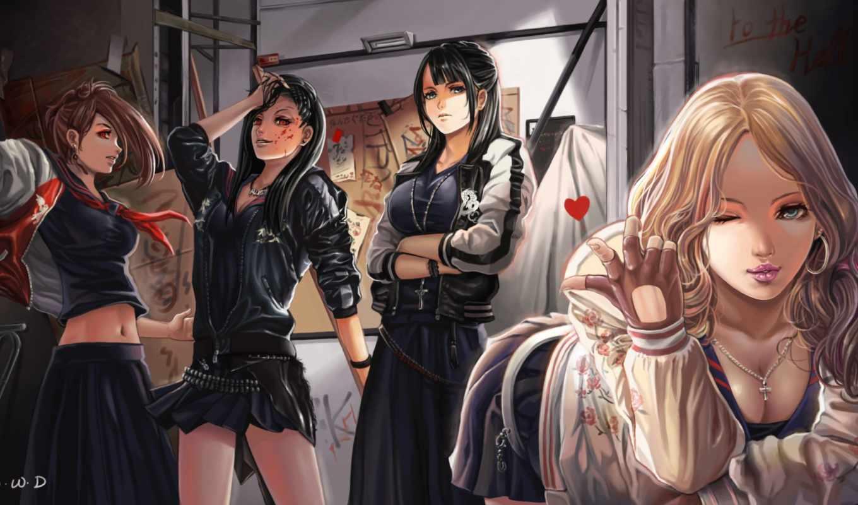 anime, majisuka, gakuen, girls, more, юбка, кофта, цитрус, cleavage,