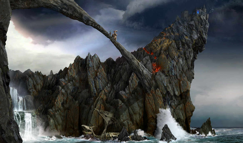 gothic, arcania, скала, ancaria, великан, воин, бой, мост, фэнтези, игры, cliff,