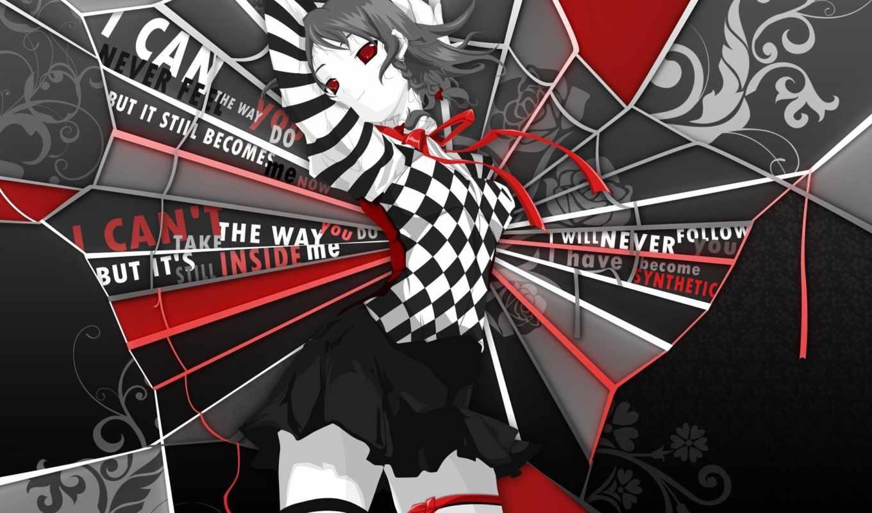 sakuya, izayoi, touhou, красные, глаза, юбка, черная, аниме,