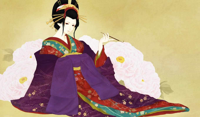 гейша, девушка, мундштук, пионы, арт, цветы, кимоно,