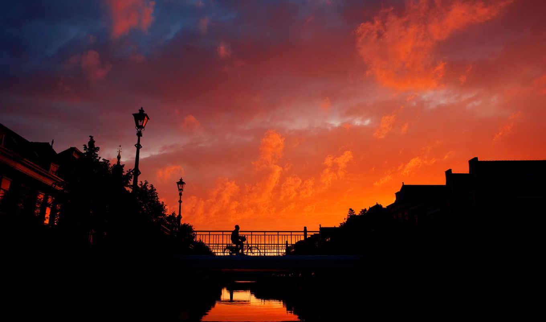 закат, город, мост, небо, велосипедист, вечер, вид,