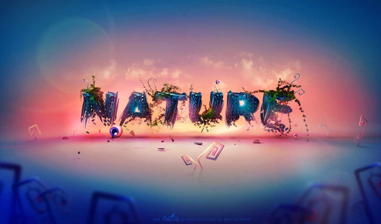 природа, gradient, fonds, ecran, надписи, впервые, зелёный, this, oblaka,