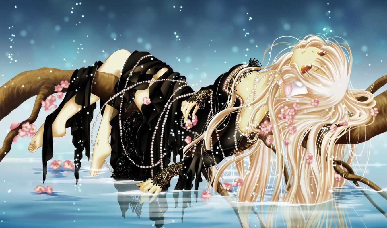 anime, девушка, лежащая, со, ветке, водой,