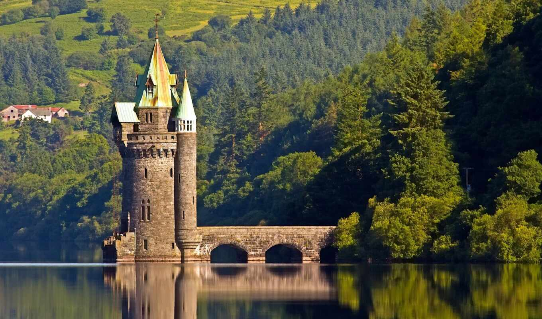 башня, озеро, vyrnwy, wale, wales, великобритания, штрих, лес
