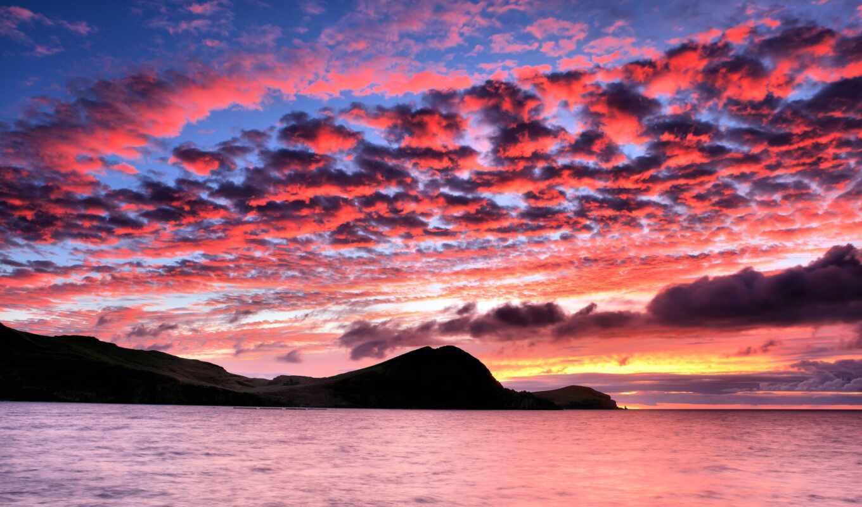 закат, небо, облако, гора, море, красивый