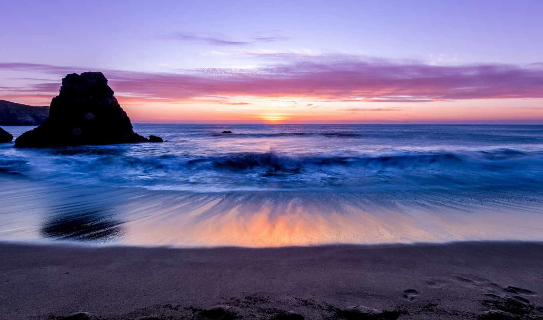 берег, море, горизонт, ocean, surf, песок,