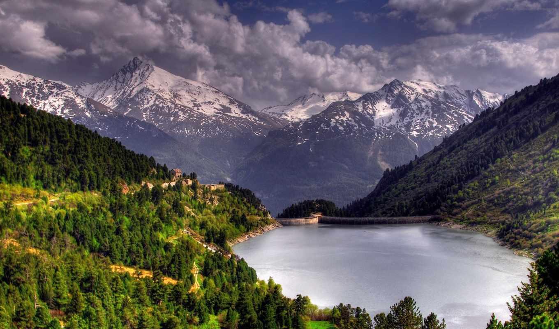 горы, гори, природа, water, лис, леса, луг, красивая, лісі, dam,