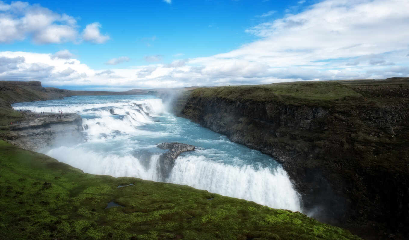 gullfoss, iceland, arnessysla, hdr, фотопанно, was, dream, cascada, rezreshenie,