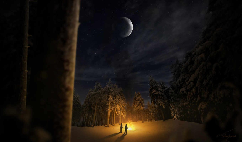 лес, ночь, winter, снег, bonfire, люди, trees, два, iphone,