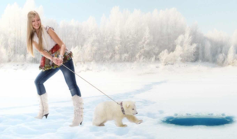 bears, winter, animals, снег, art, women, polar,
