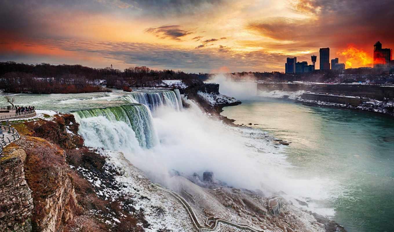 niagara, falls, закат, восход, york, new, ny, usa,