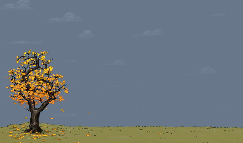 листья, осень, желтый, дерево, вектор, минимализм,